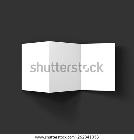 Blank tri fold paper brochure mockup. Vector Illustration EPS10.