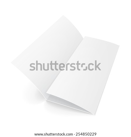 Blank Trifold Paper Brochure With Shadows On White Background