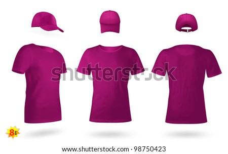 Blank uniform template set: t-shirts and a cap.