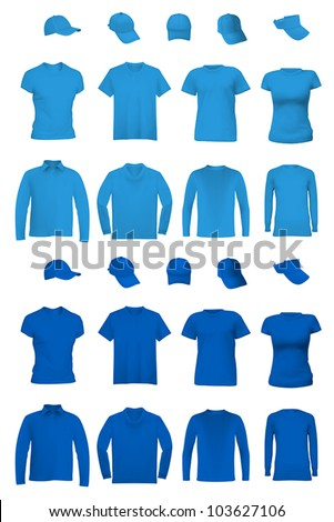 Blank uniform template: t-shirts, long sleeve shirts and hats.
