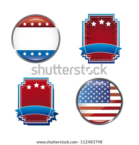 blank united states tags isolated over white background. vector