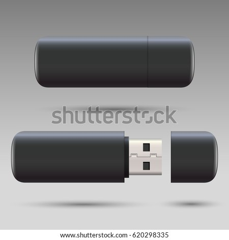 Blank usb drive design mock up set, 3d rendering. Clear plastic flash disk template opened, closed. Plain memory device mockup