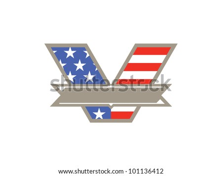 "Blank ""V"" Banner with American Flag on White Background to represent VOTE or Veteran's Day. Ready for your text!"