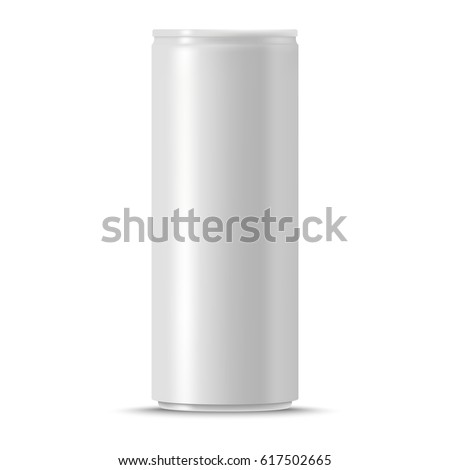 blank vector can of soda or energy drink isolated on white background