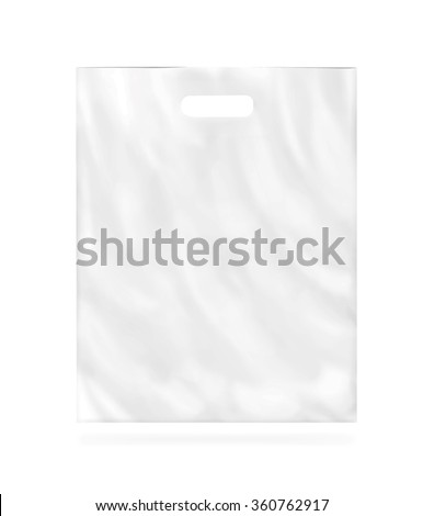 Blank vector plastic bag mock up isolated. Empty white polyethylene package mockup. Consumer pack ready for logo design or identity presentation. Commercial product food packet handle. Magazine market