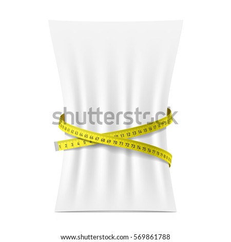 Blank vertical A4 paper sheet squeezed by measure tape vector illustration