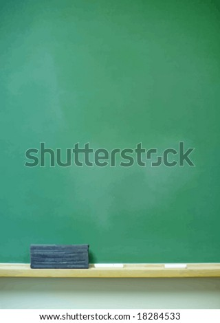 Blank vertical chalkboard with eraser and chalk. VECTOR.