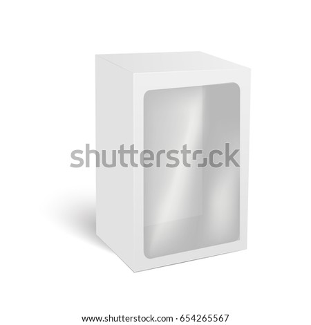 Blank vertical paper box packaging for sandwich, food, gift or other products with plastic window. Vector illustration.