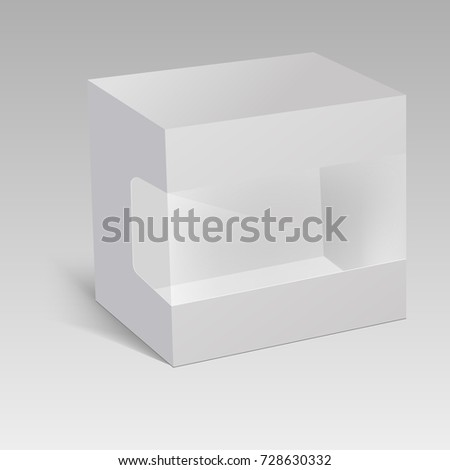 Blank vertical paper box packaging for sandwich, food, gift or other products with plastic window. Vector illustration