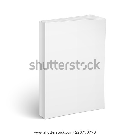 Blank vertical softcover book template standing on white surface  Perspective view. Vector illustration.