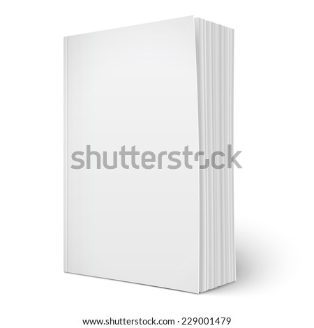 Blank vertical softcover book template with spreading pages standing on white surface  Perspective view. Vector illustration. stock photo