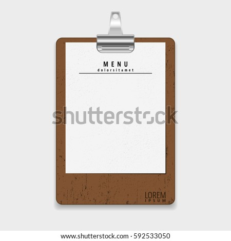 Blank vintage clipboard. Menu restaurant template retro design. Vector illustration.