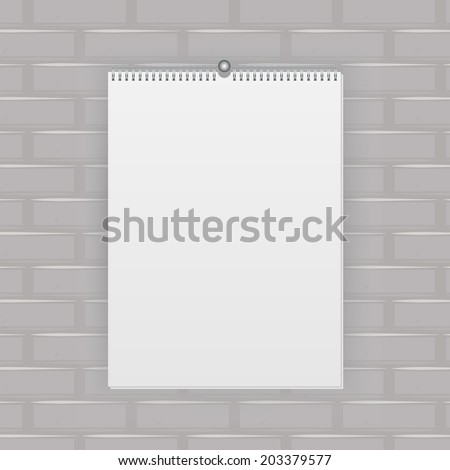 Blank wall calendar with spring, vector illustration