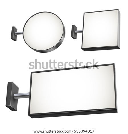 Blank wall mounted street shop advertisement sign vector set. Round, square and rectangular signboard.