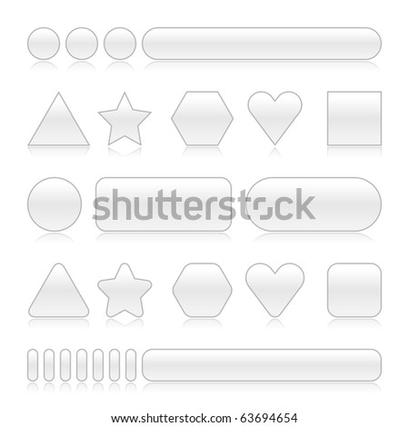 Blank web 2.0 buttons with reflection. Gray color various forms on white background