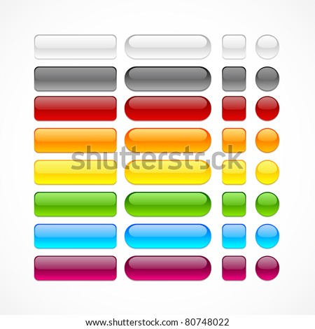 Blank web glossy buttons. Vector.