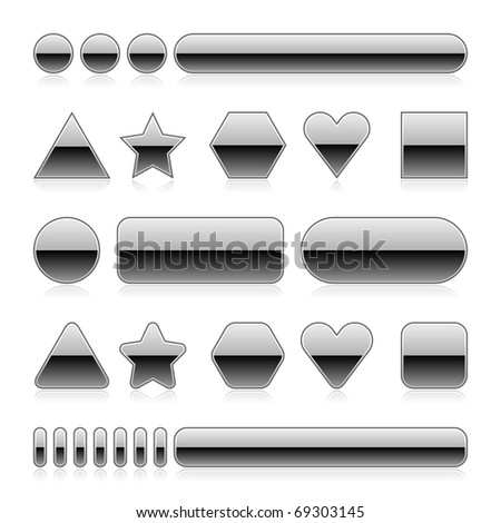 Blank web 2.0 metal buttons with reflection. Silver various forms on white background