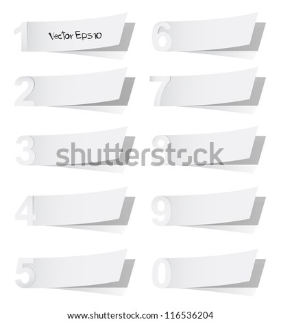 Blank white advertising coupon cut from alphabet number of paper, vector illustration