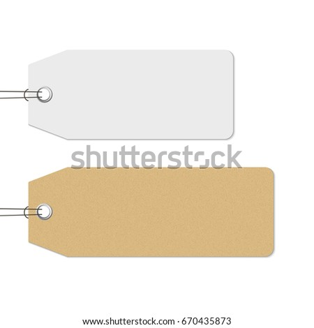 Blank white and brown price tags hanging, realistic vector. Craft paper texture tag