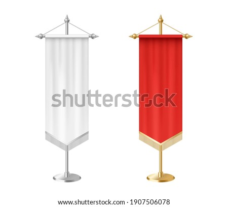 Blank white and red vertical pennants with tassel fringe on steel spire pedestal. 3d realistic royal flag template mockup. Vector illustration Stockfoto ©