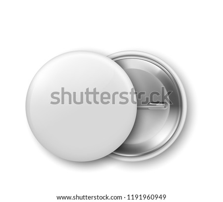 Blank white badge, pin. Vector illustration