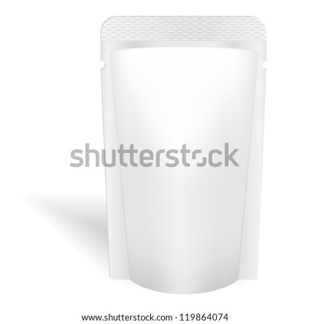 Blank white bag packaging for liquids, drink or food. Vector. Product package template