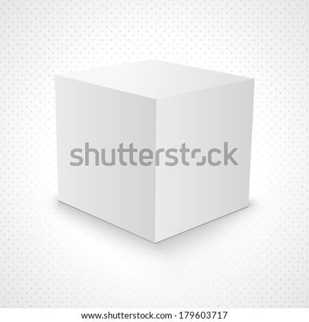 Blank white carton 3d box cube on background. 3d box design. 3d box template. 3d box vector. 3d box illustration. 3d box element