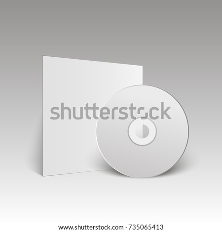 Blank white compact disk. Mock up. CD disk. Vector illustration.
