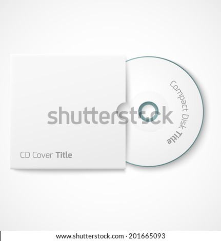 Blank white compact disk with cover mock up template. Vector illustration