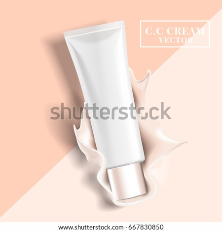 blank white cosmetic tube falls on a bicolor background and causes a cream splash, 3d illustration