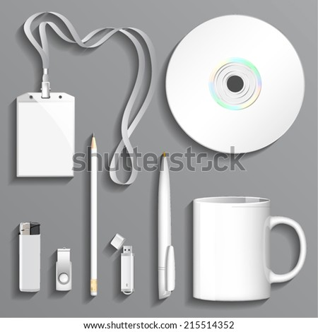 Blank white Cup, Lighter, Pen, Pencil, Disk, USB Storages and Badge for Business Branding and Corporate Identity. Isolated on Gray