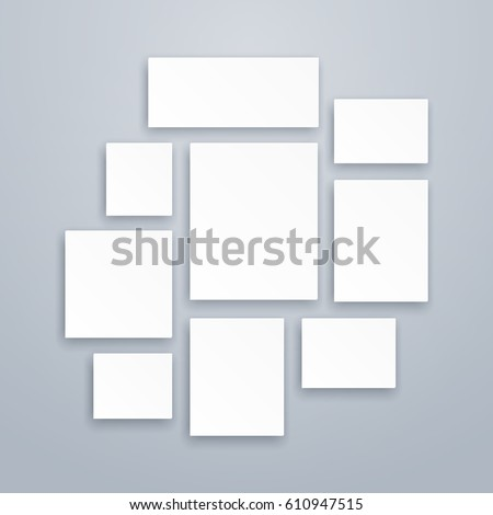 Blank white 3d paper canvas or photo frames. Vector posters mockups. Presentation photography portfolio, illustration of creativity portfolio exhibition.