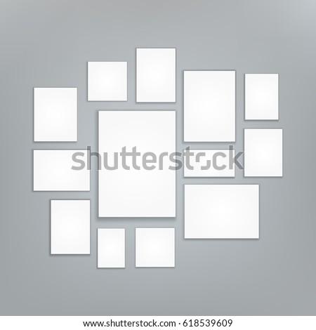 Blank white 3d Paper Canvas Vector. Posters Mock ups. Presentation Photography Portfolio. Illustration Of Creativity Portfolio Exhibition.