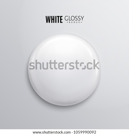 Blank white glossy badge or button. 3d render. Round plastic pin, emblem, volunteer label. Vector.