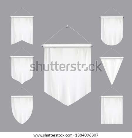 Blank white mock up pennants triangle flags various shapes tapering hanging banners realistic set isolated vector illustration Stockfoto ©