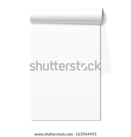 Blank white notepad, notebook. Vector.