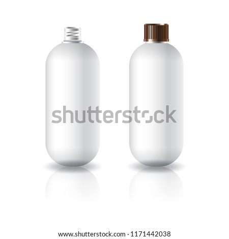 Blank white oval round cosmetic bottle with grooved screw lid for beauty product packaging. Isolated on white background with reflection shadow. Ready to use for package design. Vector illustration.