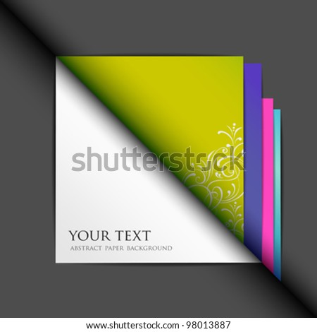 Blank white paper and colored paper background. vector illustration