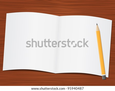 Blank white paper and pencil on the wooden desk, vector eps10 illustration