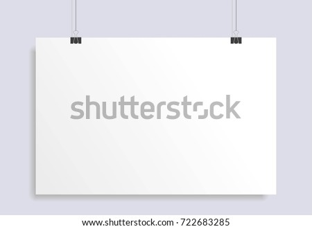blank white paper hanging on