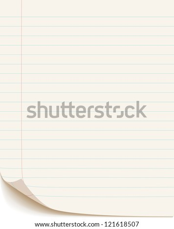 Blank white paper isolated on white background, vector illustration
