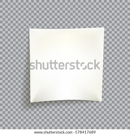Blank white paper note isolated on transparent background with place for your text or image. Vector illustration for your graphic design.