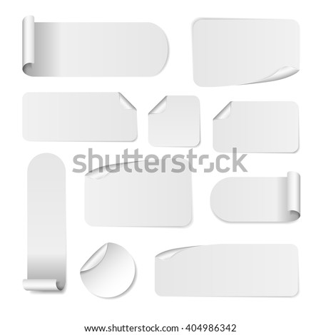 Blank white paper stickers isolated on white background. Round, square and rectangular sticker template. Sale and Clearance  banners #404986342
