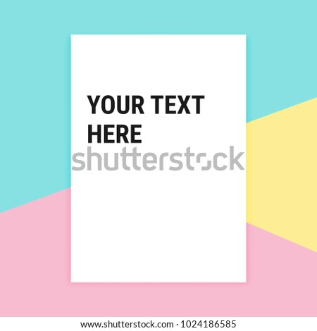 Blank white paper with shadow Pastel Colorful soft pink blue yellow background A4 format mockup text here template, Vector abstract decoration modern trendy design banner social media web site poster