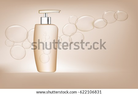 Blank white plastic pump bottle used for shampoo or soap.vector  illustration