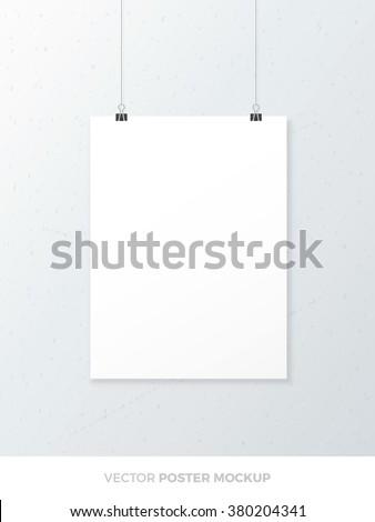 Blank white poster mockup. Vector poster template