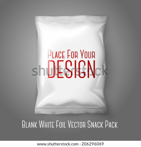 Blank white realistic foil snack pack isolated on grey background with place for your design and branding Vector