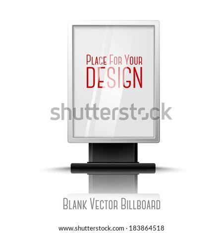 Blank white realistic vertical billboard with place for your design and branding under the glass. Foto stock ©