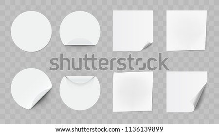 Blank White Round Adhesive Stickers With Curved Corner Set. EPS10 Vector
