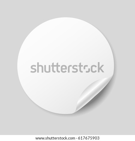 Blank white round sticker with curled corner, realistic mockup